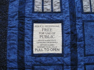 This panel, as well as the long Police box title, was part of a fat quarter prepared by the designer and sold through Spoonflower fabrics.