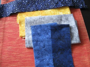 Stonehenge fabrics for the quilt top.